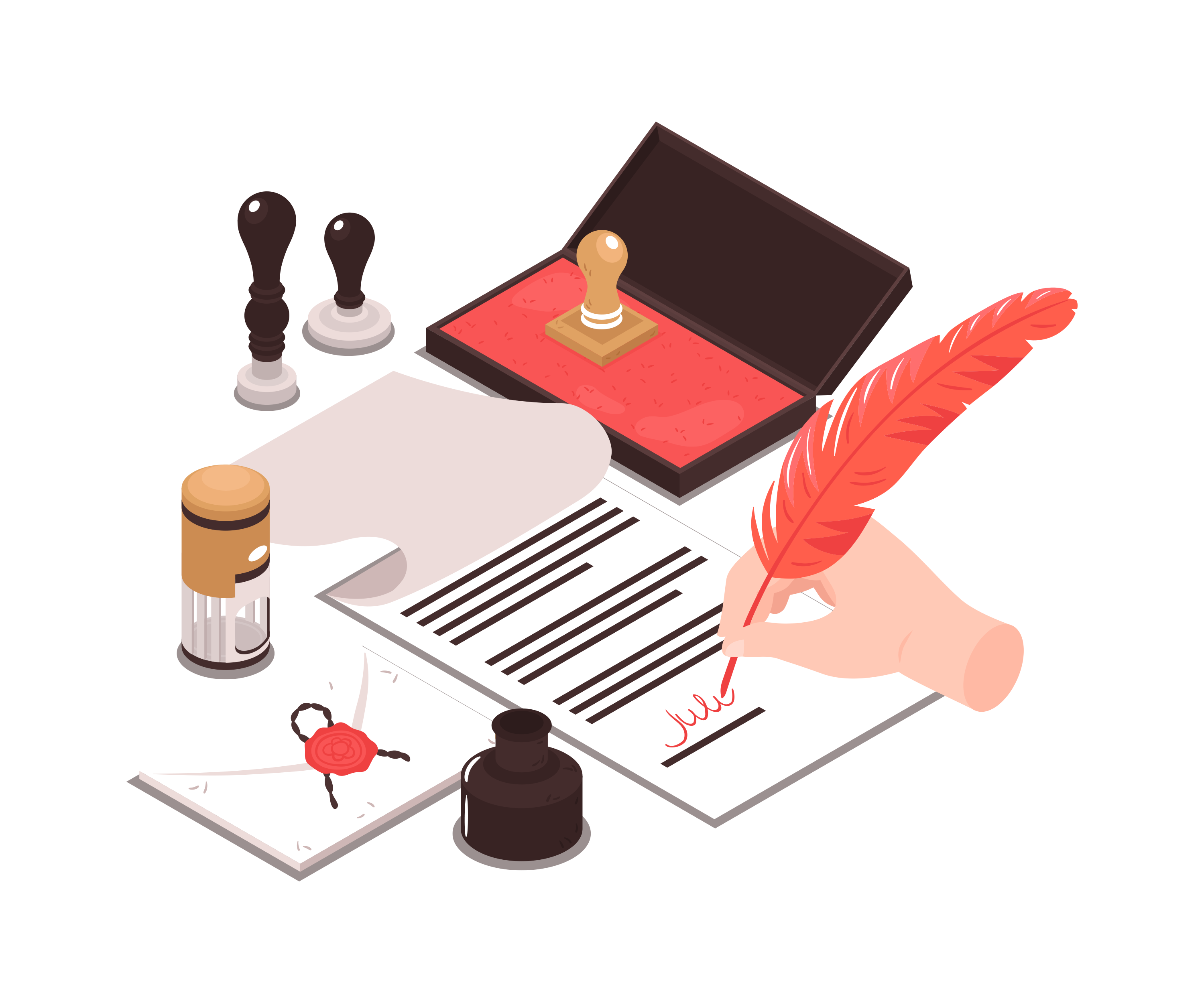 business lawyer signing a contract on a legal note pad with a red feather pen and brown legal stamp