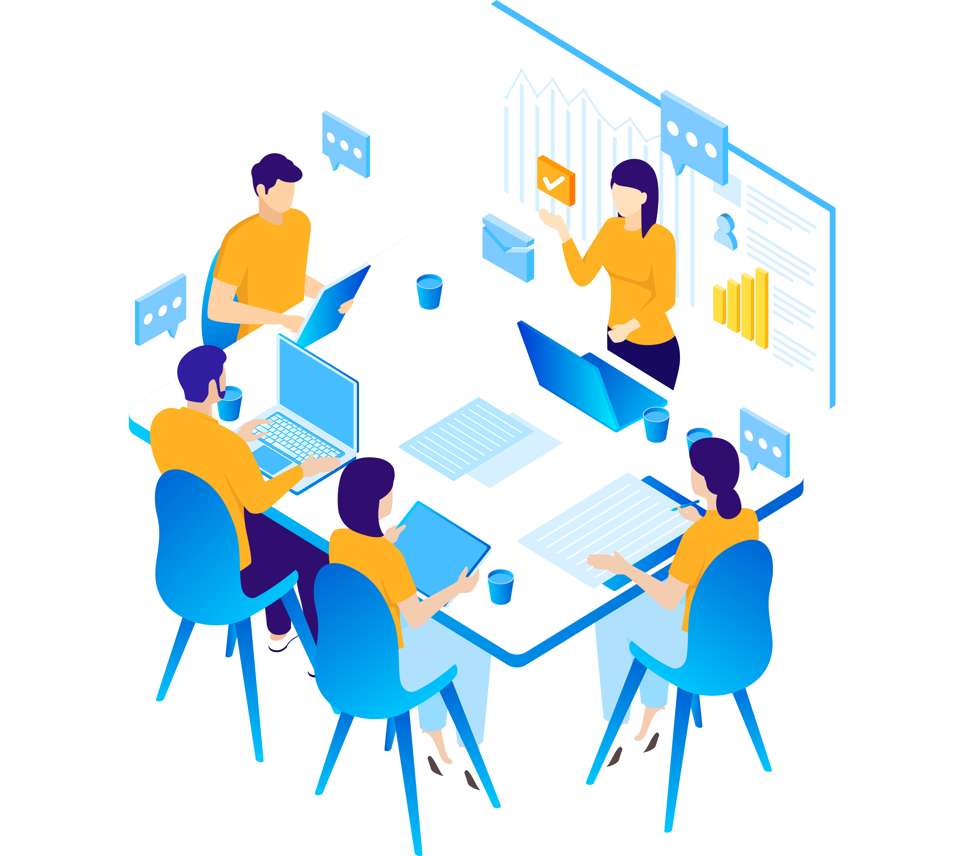 blue and yellow business team meeting at a conference table