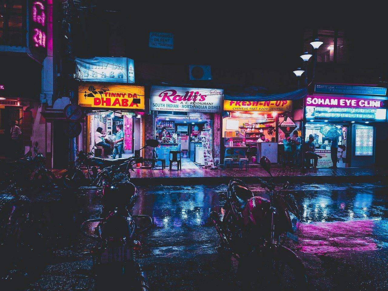 shop, city, night